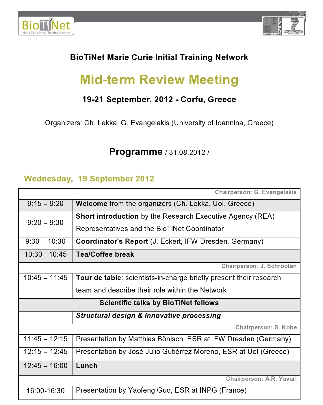 Workshop Midterm Meeting Agenda – Meeting Agenda